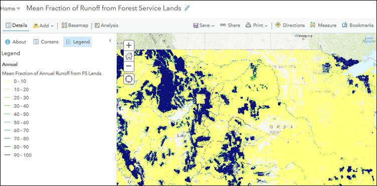 Mean Fraction of Runoff from Forest Service Lands Interactive Map