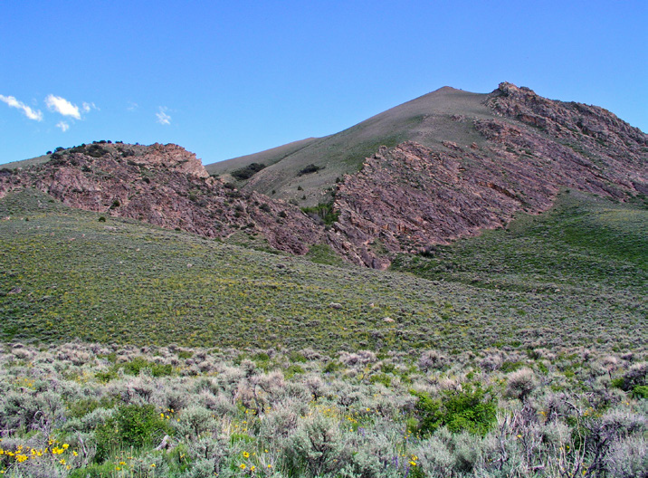 Sagebrush ecosystem resilience to stress and disturbance changes along environmental gradients of heat and moisture. Photo shows a mountain big sagebrush type with cool and moist soils and moderate resilience and resistance.