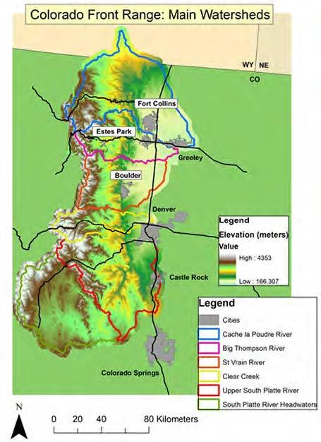 The most significant flooding took place within the Big Thompson and St Vrain watersheds, though the Cache la Poudre and Clear Creek were also affected. (Image credit: Colorado State University, Warner College of Natural Resources.)