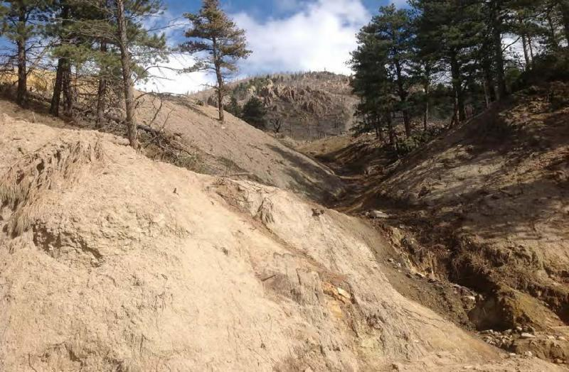 As a result of the 2013 flood, the current and future risk of hazards – landslides, rock slides, and debris flows – has increased across an area roughly three quarters the size of Rhode Island.(Image credit: Sarah Hines, U.S. Forest Service)