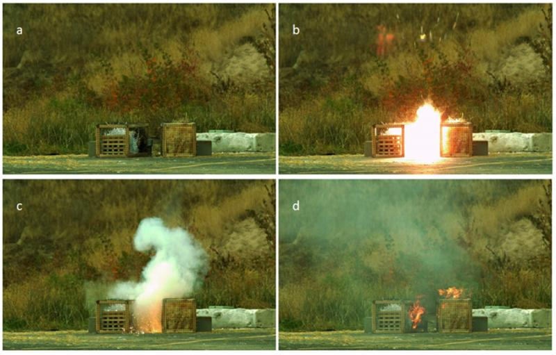 Image sequence taken with a high-speed video camera showing (a) setup, (b) detonation, (c) glowing material, and (d) ignition of fuel cages.