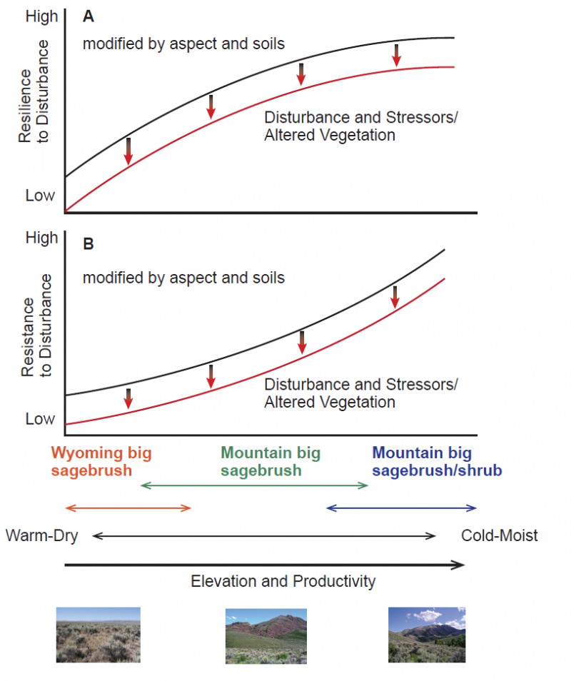 Graphs illustrating resilience and resistance in sagebrush ecosystems over a typical soil temperature and moisture gradient in the Cold Deserts of the sagebrush biome.