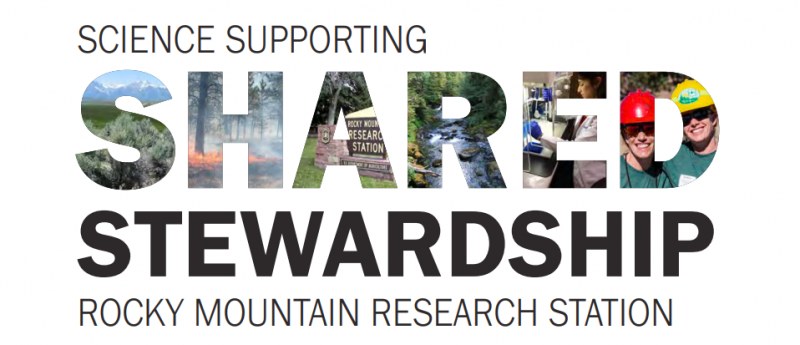 "Banner reading ""Science Supporting Shared Stewardship: Rocky Mountain Research Station\"""