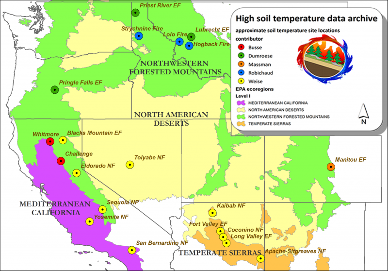 soil temperature study locations map - high soil temperature archive