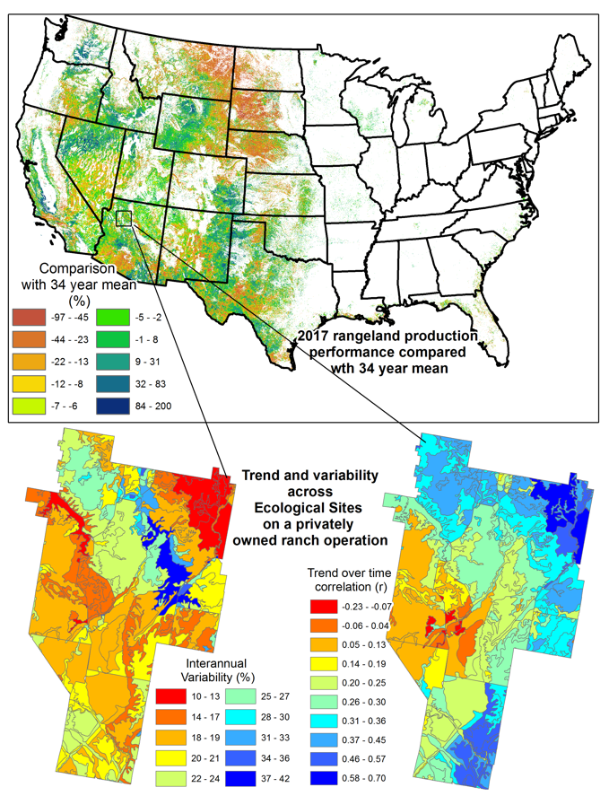 The RPMS evaluates rangelands across all ownerships and can be used with Ecological Sites to improve risk management strategies. The image shows a color-coded map of the U.S. showing 2017 rangeland production compared with the 34 year mean.