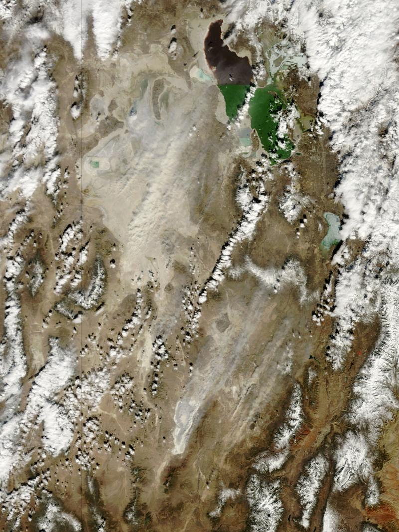 Dust storms that travel over large arid areas, like this one in northern Utah on March 4, 2009, might be one of the prime long-distance conveyances of airborne soil crust components (photo courtesy of NASA).