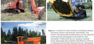 A collage of three pieces of carrier machines including excavators, skid steers, and tractors, each with attached mulching heads. This image demonstrates the types of machines land managers and scientists can use to masticate sites.