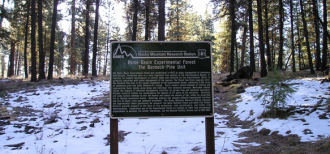 Photo of a sign at the Boise Basin Experimental Forest.