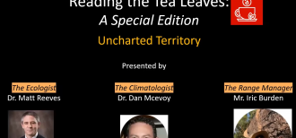 A screenshot of the title slide of the special edition of Reading the Tea Leaves: Uncharted Territory