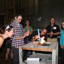 Educators examine the effects of slope on fire in this exercise as part of the FireWorks master class. Photo courtesy of Ilana Abrahamson