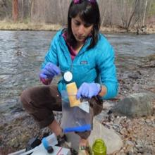 Taking a water sample to test for eDNA.