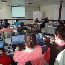 Tracey Frescino, RMRS Inventory & Monitoring forester, presenting during the R Software Workshop in Quito, Ecuador