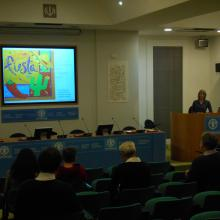 Tracey Frescino, RMRS Inventory & Monitoring forester, presenting at the Headquarters of the Food and Agriculture Organization of the United Nations in Rome, Italy