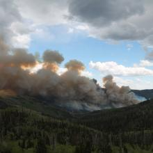 Manning creek stand replacement fire plume (photo courtesy of Roger Ottmar, USFS Pacific Northwest Research Station).