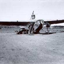 Reseeding in the Great Basin Experimental Range in the 1930s. (Note the seed silo behind the plane)