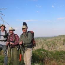 RMRS scientists prepare to search for Mexican spotted owls in a burned area, Sacramento Mountains, New Mexico. Although fires can degrade or destroy nesting habitat for these owls, they also can create foraging habitat (Photo by unknown RMRS employee).