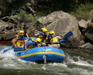 Water rafting is a popular activitiy that depends on streamflow from forest watersheds.