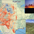 A map of the western United States titled FuelCast, with inset pictures of grassland and a fire. The map shows fuel projections from decrease (red) to increase (blue), with hotspots in purple.