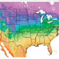 A map of the continental United States showing current plant hardiness zones in a scale of colors.