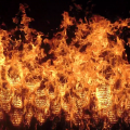 Top-view of the flame zone of a spreading fire in the laboratory showing pocket structures resulting from buoyant-flow instabilities.