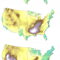 A three-panel map of the United States showing the number of extreme fire days.  The first shows the most fire days in the western U.S., the second shows the most in the Southeast, and the third is split between the West and Southeast.