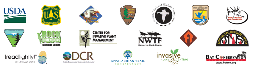 Logos of the Playing Smart Against Invasive Species partners: United States Department of Agriculture, U.S. Forest Service, Wildlife Forever, National Park Service, National Fish and Wildlife Foundation, U.S. Fish and Wildlife Service, Rocky Mountain Elk Foundation, U.S. Department of the Interior Bureau of Land Management, Rock Dimensions Climbing Guides, Center for Invasive Plant Managmenet, National Wild Turkey Federation, FT, National Speleological Society, TreadLightly on Land and Water, Virginia Department of Conservation and Recreation, Invasive Plant Control, Bat Conservation International.