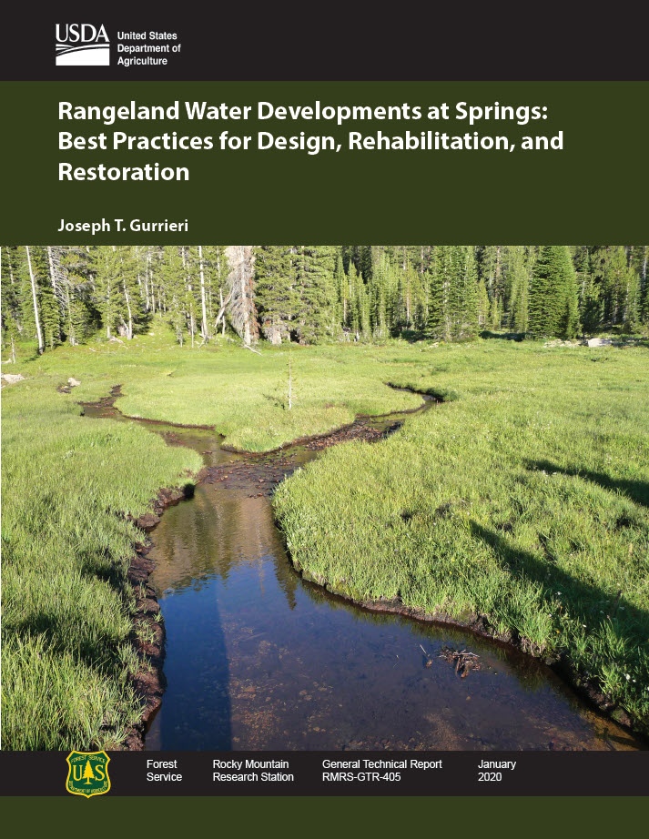 Thumbnail image of the Rangeland Water Developments at Springs: Best Practices for Design, Rehabilitation, and Restoration guide.