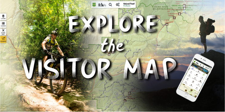 "A graphic showing a hiker and biker with the words, ""Explore the Visitor Map"" and a screenshot view of the mobile app's Explore menu."