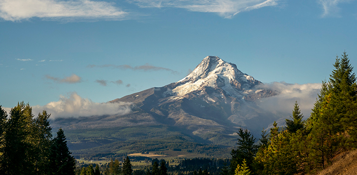 A picture of a snow-covered Mt. Hood.