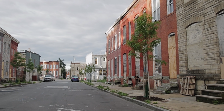 A picture of a street in Baltimore.
