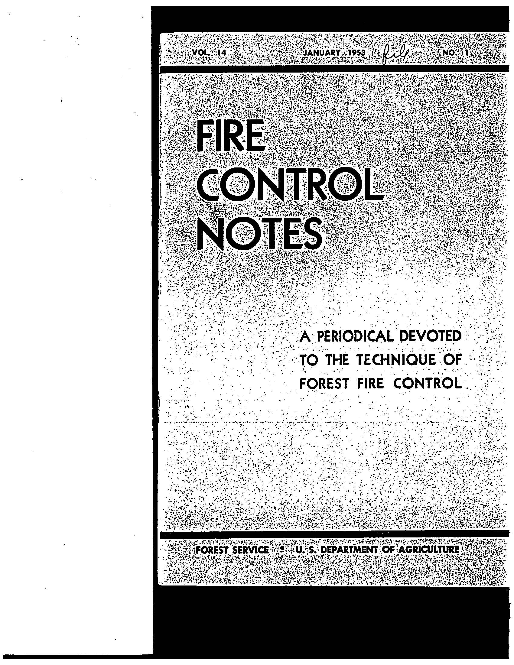 Cover of Fire Management Today Volume 14, Issue 01