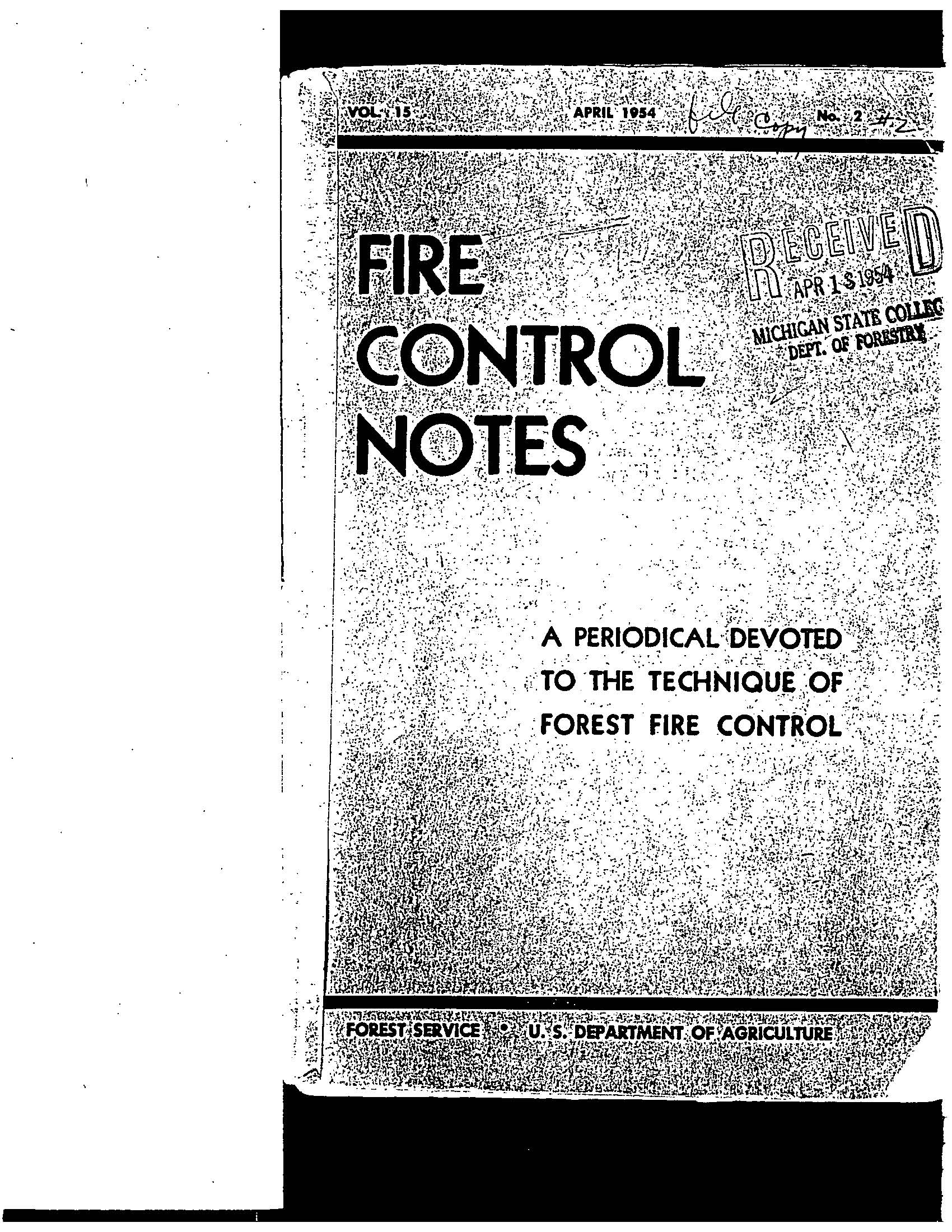 Cover of Fire Management Today Volume 15, Issue 02