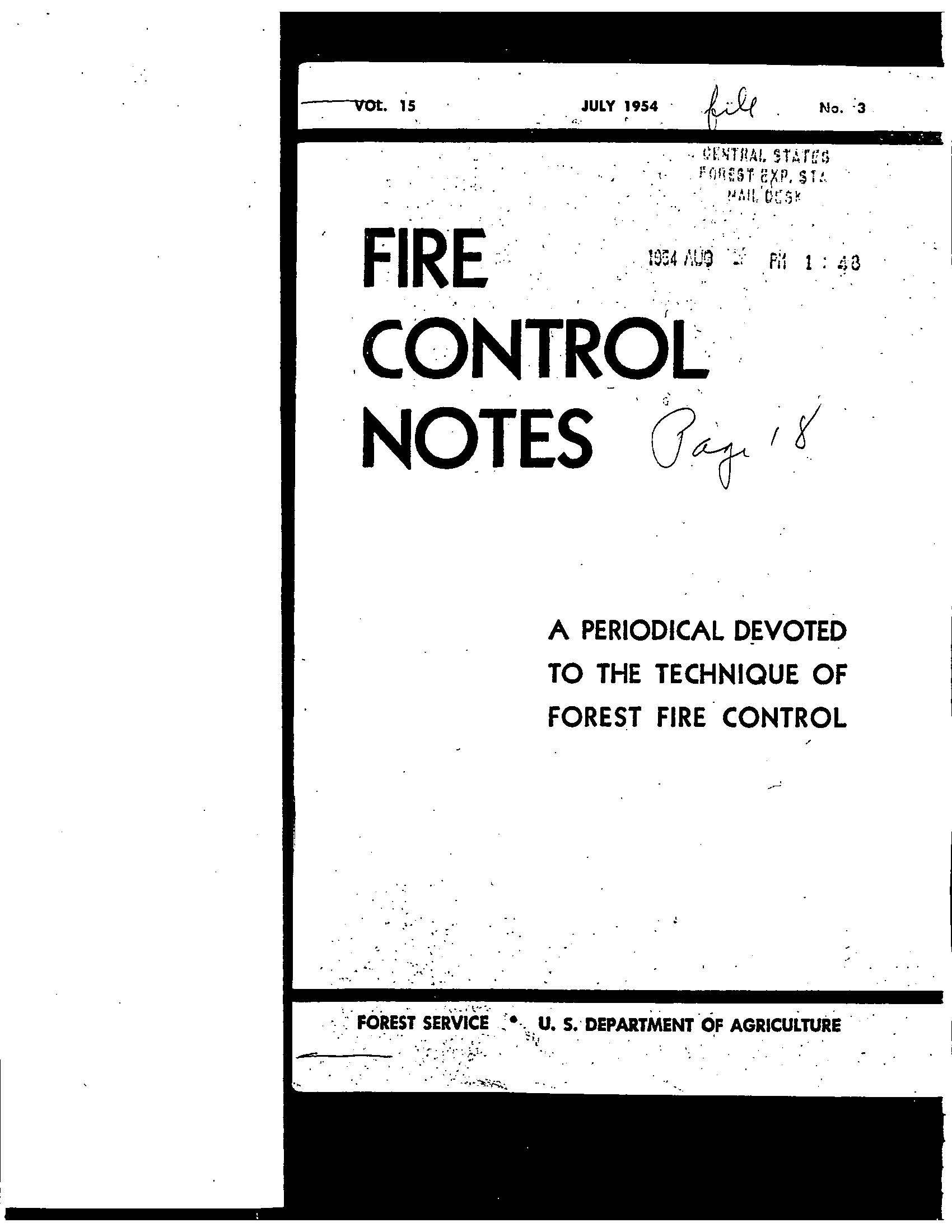 Cover of Fire Management Today Volume 15, Issue 03