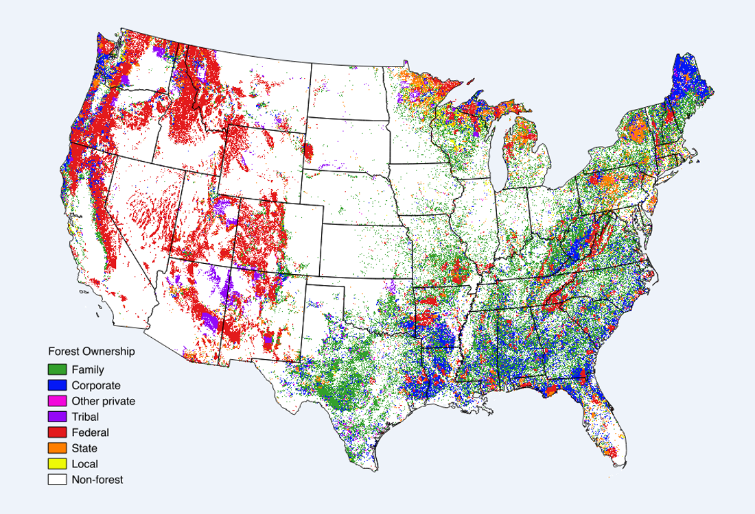Map Of Usa Forests.Private Land Us Forest Service