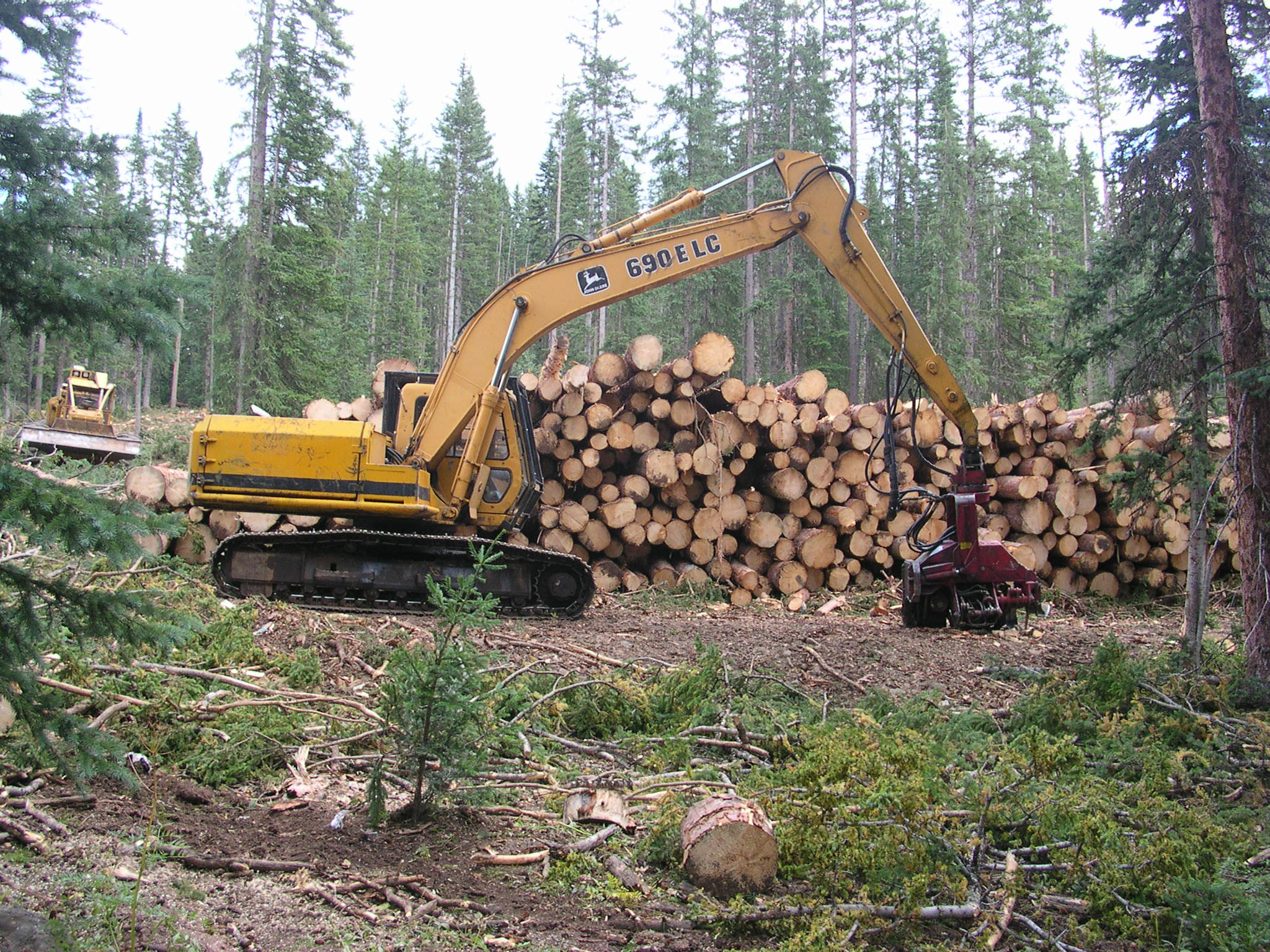 A picture of a front loader machine stacking logs on top of each other.