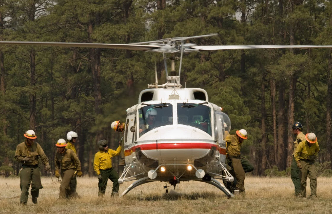 Air Attack Helitack USFS US Forest Service Helicopter Fire Fighters Crew