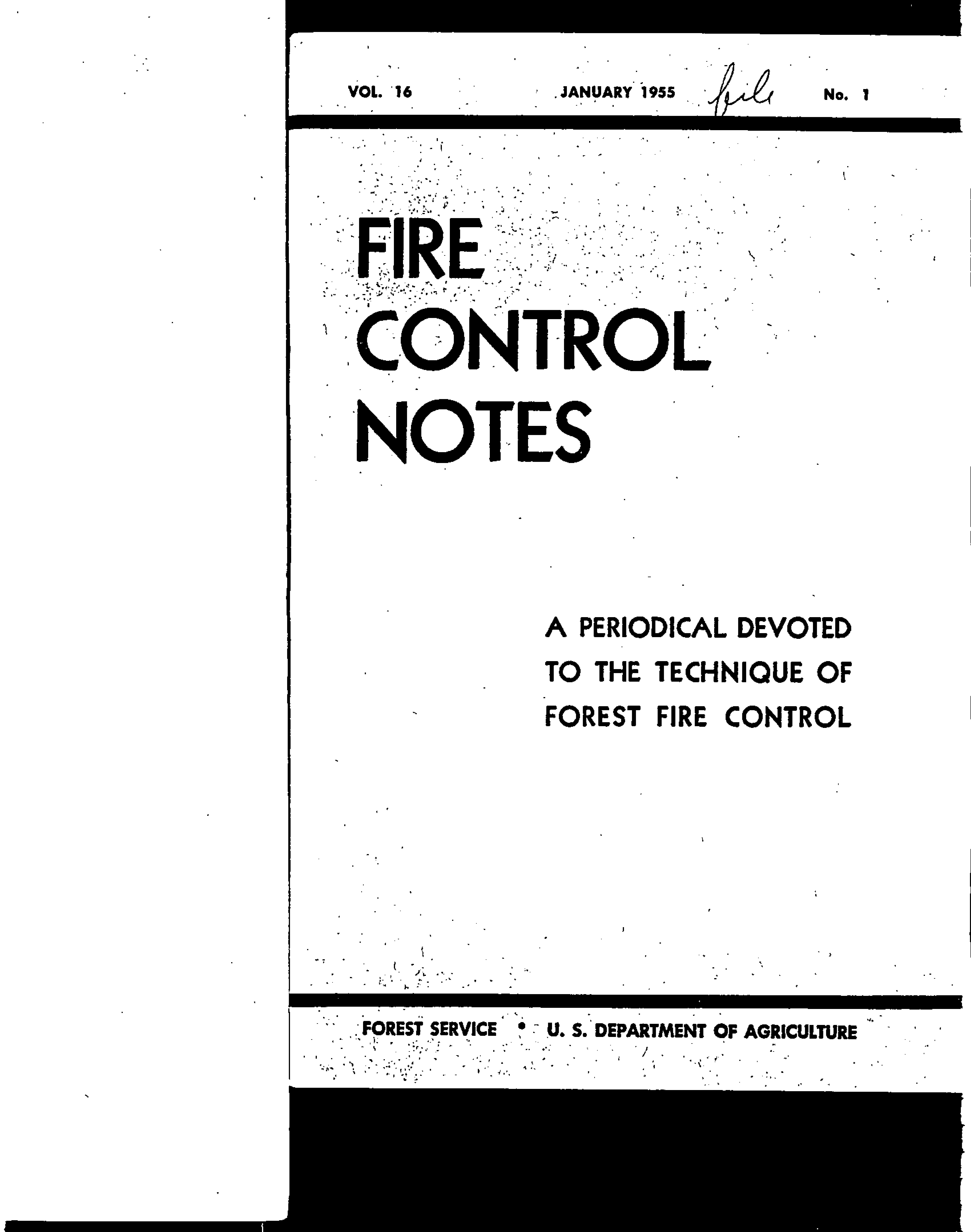Cover of Fire Management Today Volume 16, Issue 01