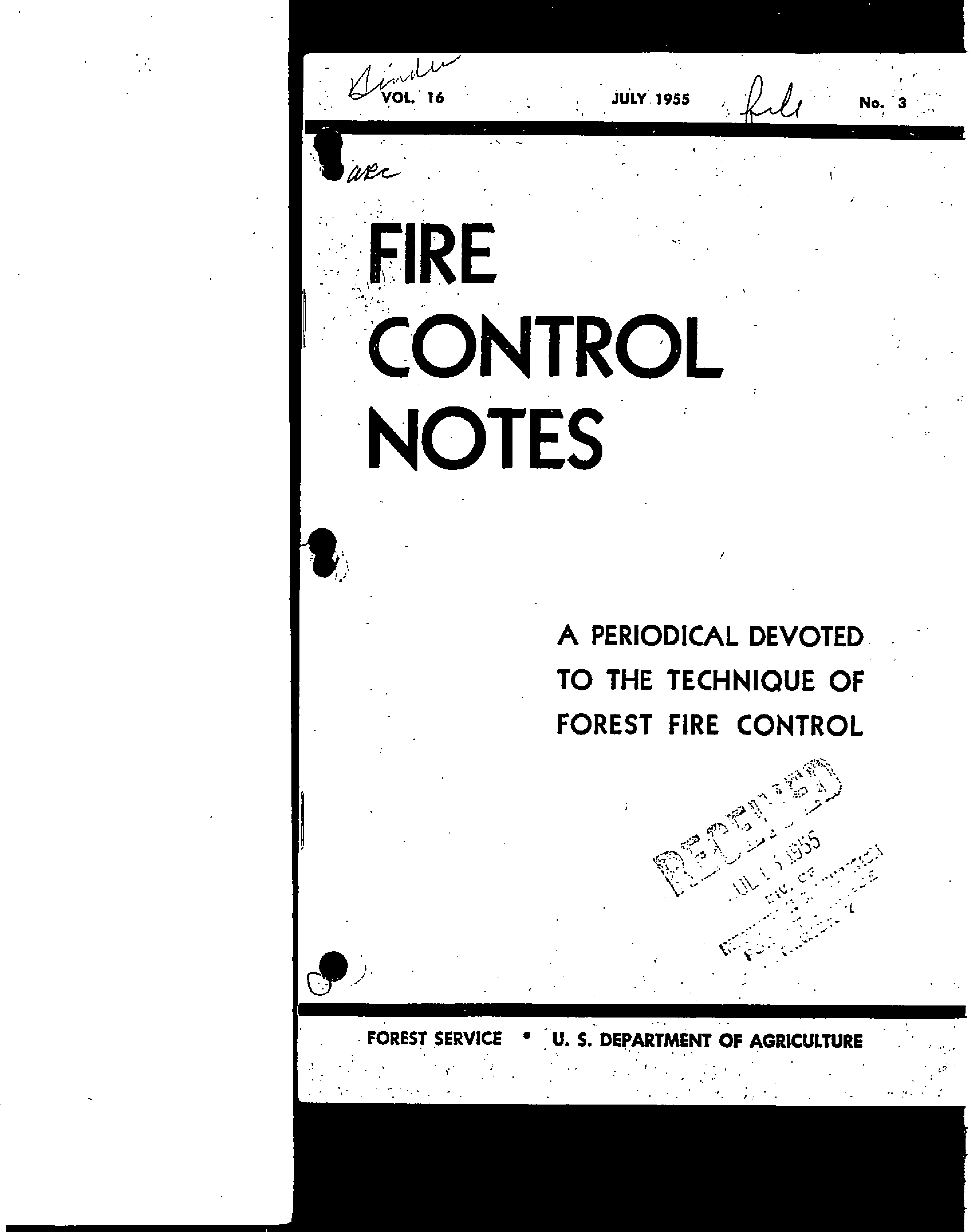 Cover of Fire Management Today Volume 16, Issue 03