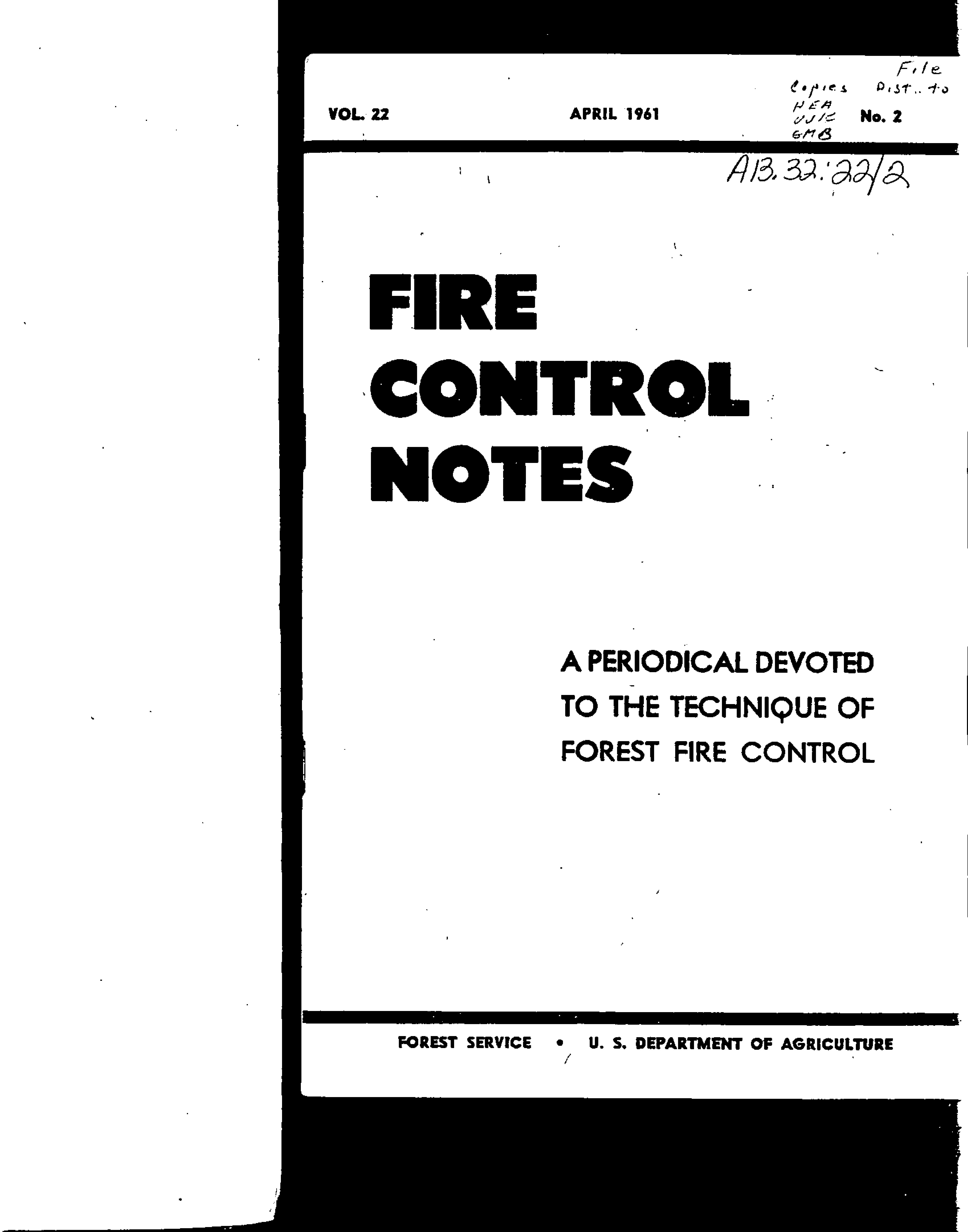 Cover of Fire Management Today Volume 22, Issue 02
