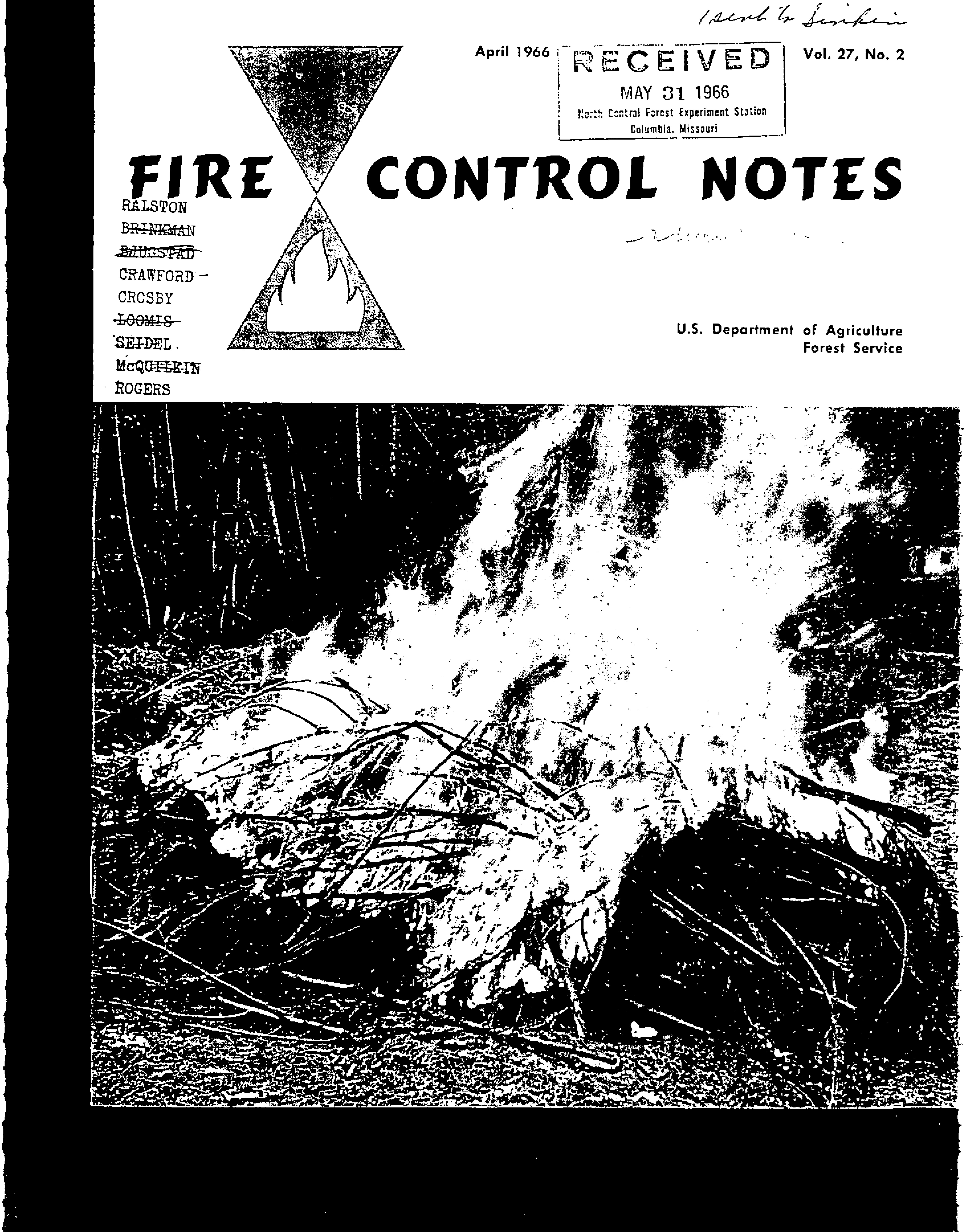 Cover of Fire Management Today Volume 27, Issue 02
