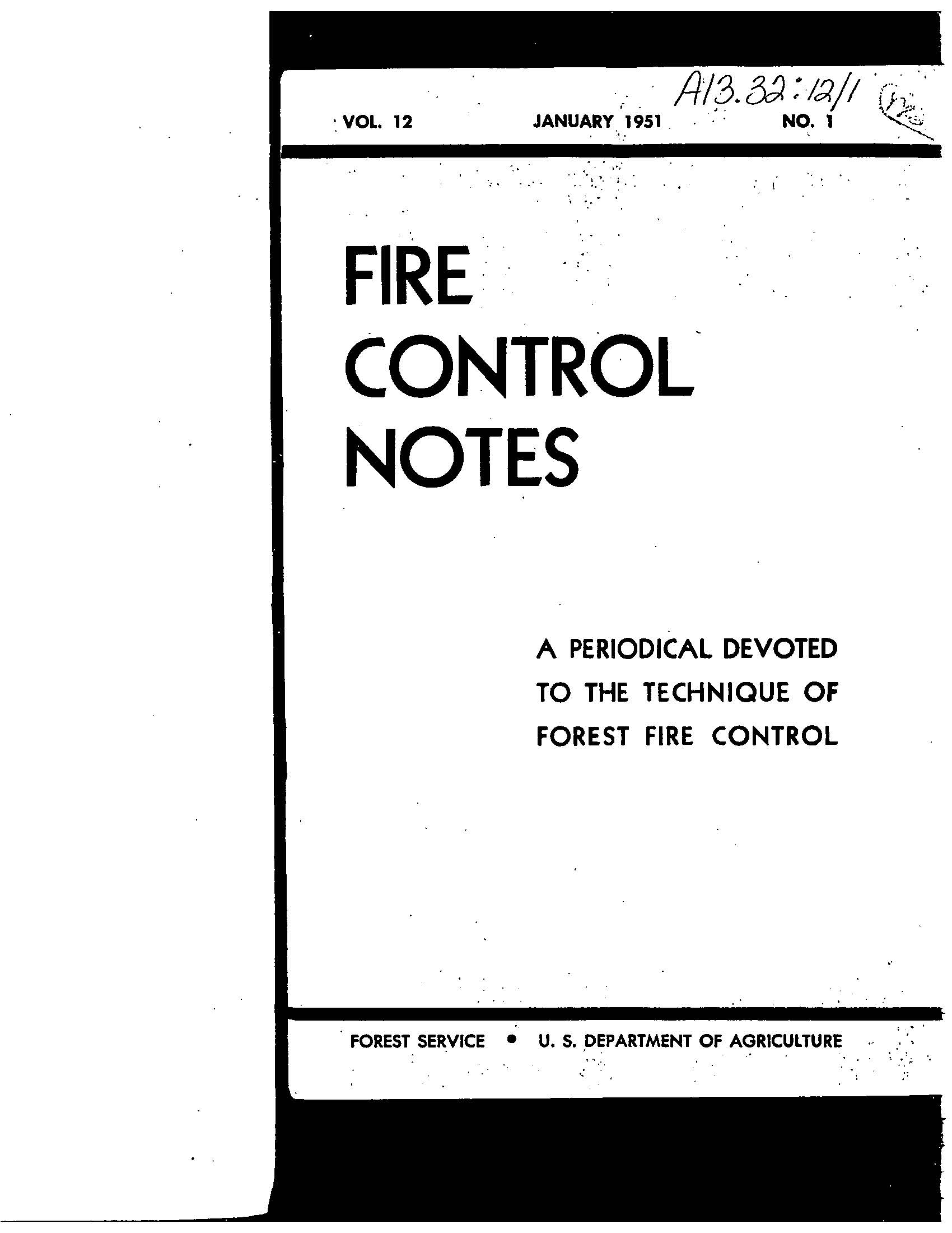 Cover of Fire Management Today Volume 12, Issue 01