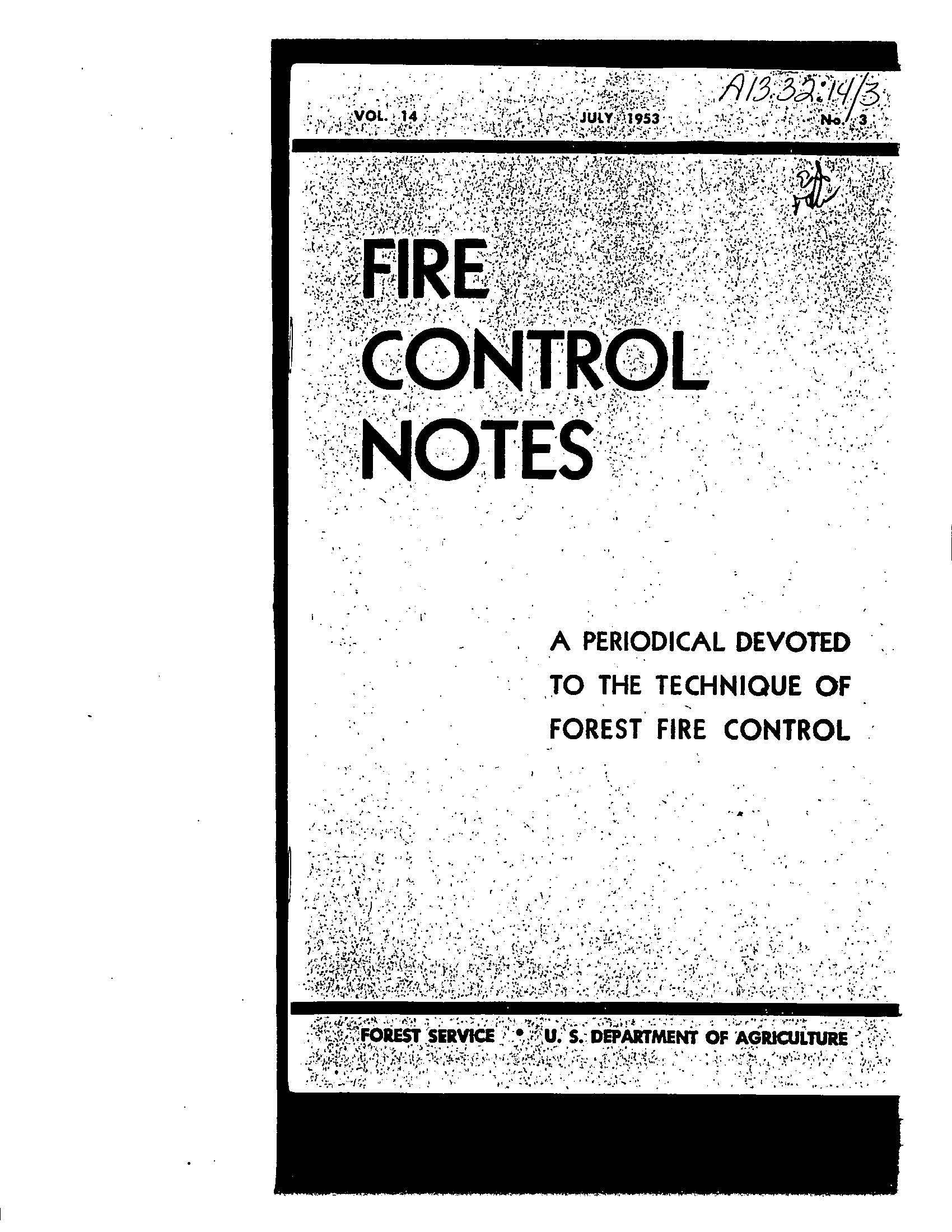 Cover of Fire Management Today Volume 14, Issue 03