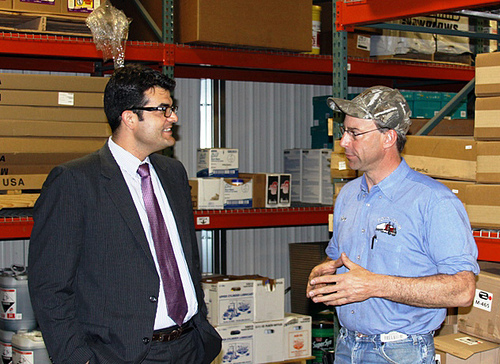 U.S. Department of Agriculture (USDA) Rural Development Acting Administrator John Padalino (left) visits with Ron Prins at Ron's