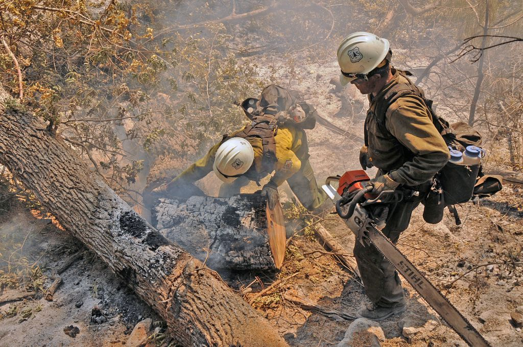 Entiat Hotshot Crew in Devil's Creek area cut and roll out heavy logs
