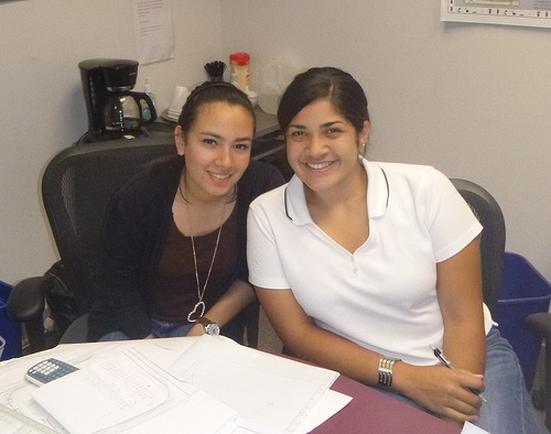Interns Hanniah Rodriguez and Angeliz Vangas.