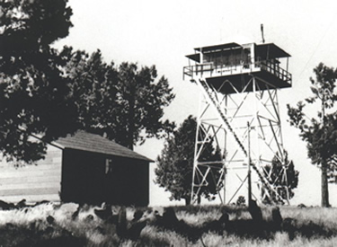 An historic image of the Orr Mountain Lookout built in 1934 on the Klamath  National Forest.