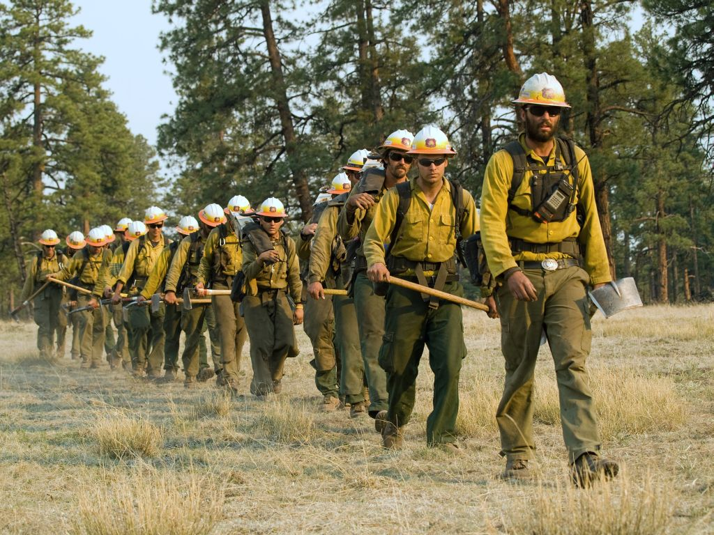 Whitewater-Baldy Complex, Gila National Forest, New Mexico, May, 2012. Payson Hotshot Crew headed to the fire line.