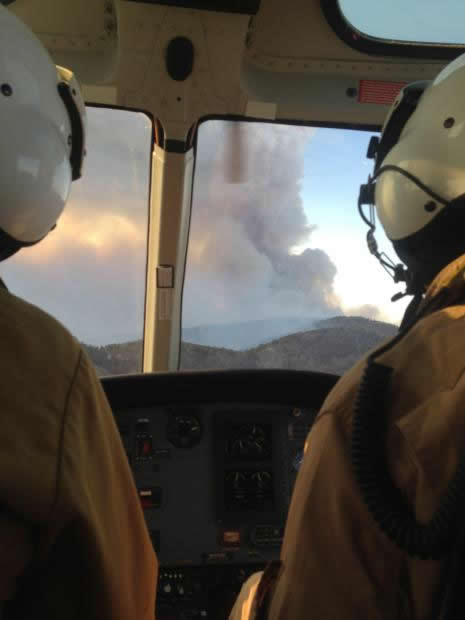 A photo of a helicopter view of the Silver Fire on the Gila National forest in New Mexico.