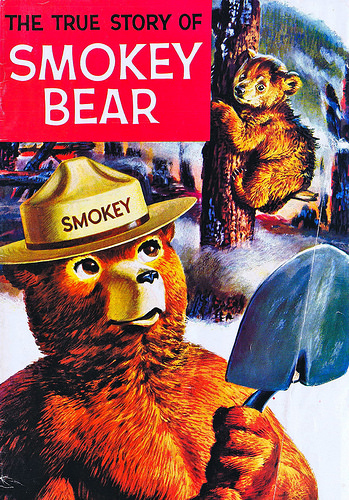 "Students who write to Smokey Bear receive tokens in return, including a copy of ""The True Story of Smokey Bear."""