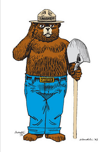 Smokey Bear, the U.S. Forest Service symbol for wildfire prevention.